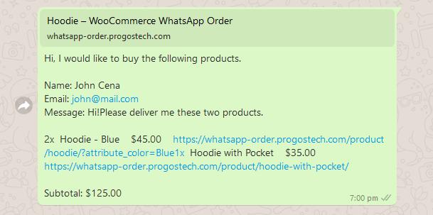 Beispiel für eine WhatsApp-Warenkorbbestellnachricht